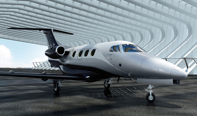 Phenom 100E business jet exterior