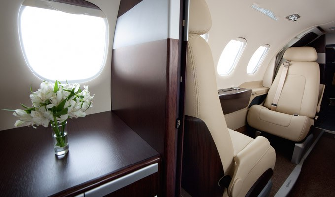 Phenom 100E business jet interior