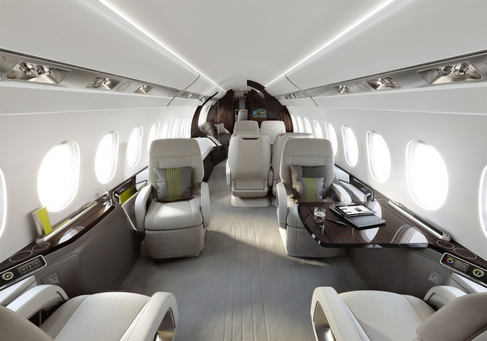 Falcon 5X private jet charter interior