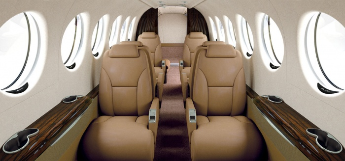 King Air 350i jet charter interior