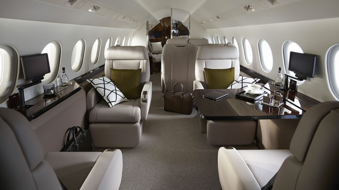 Falcon 900LX interior private jet charter