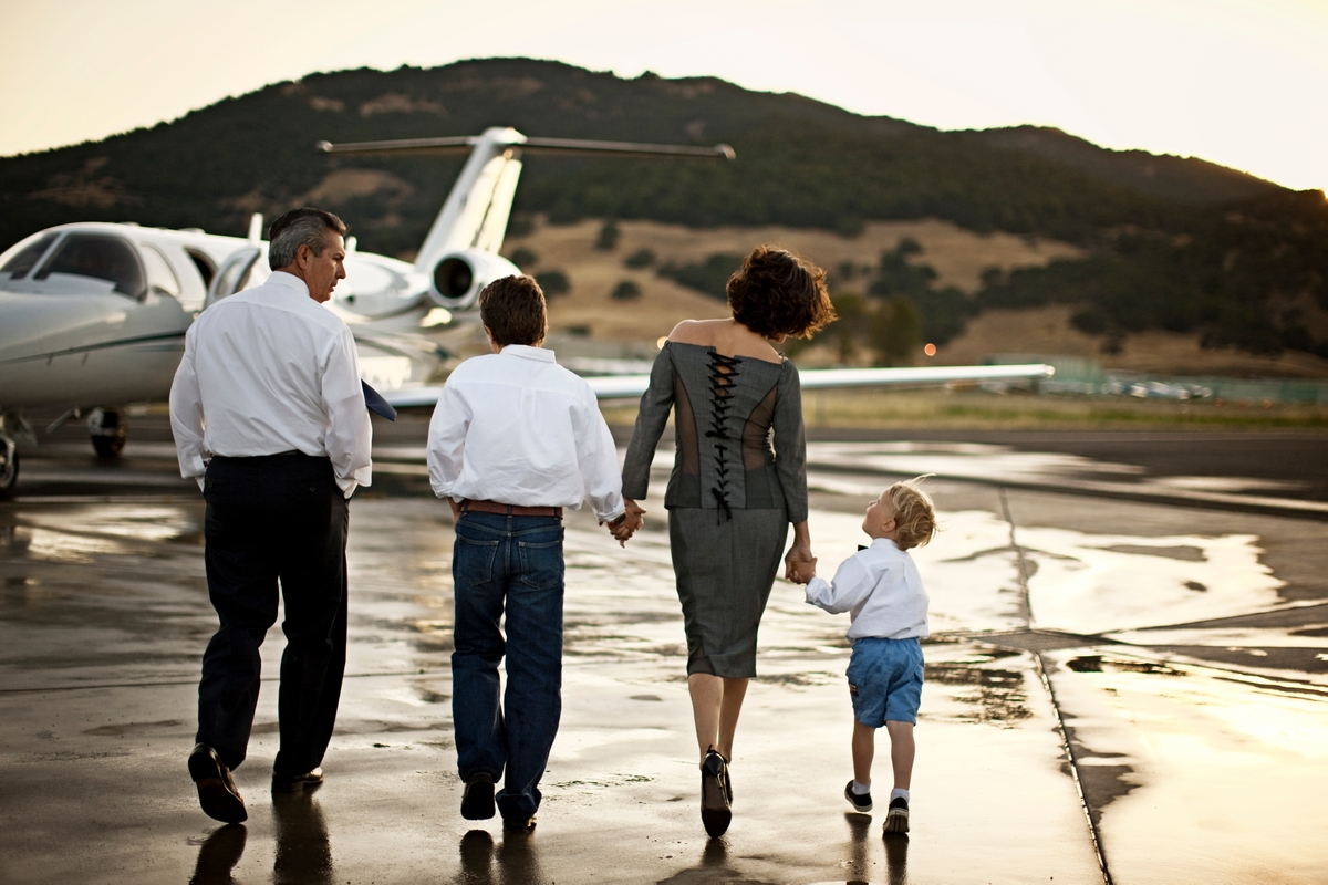 Family trip on a private jet